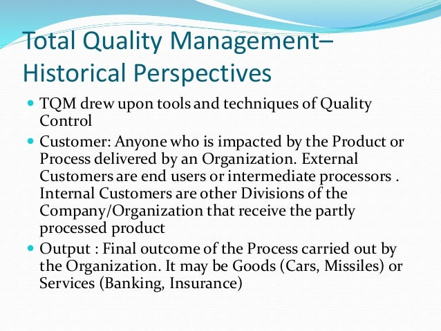 total quality management case essay Tqm is revisited in 1999, terry chenault joined ford, a risk management specialist who along with phong vu, helped to further the tqm methodology through a consumer driven six sigma process.