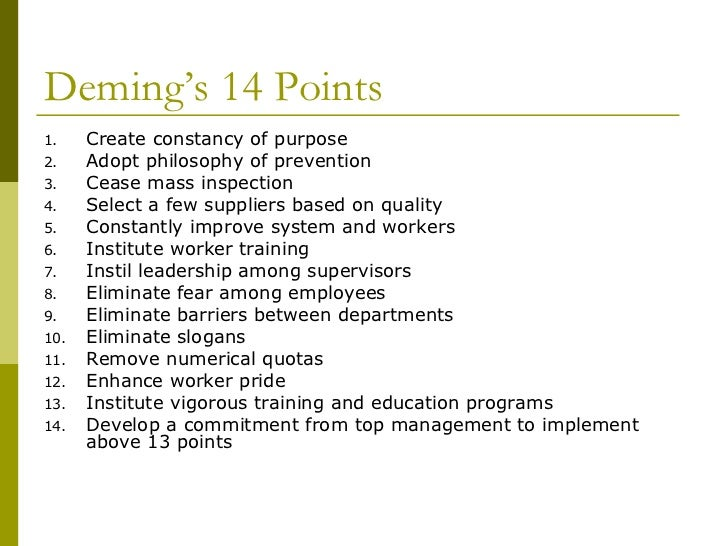 how the philosophies of w edward deming impact quality in the workplace Deming taught japanese managers a variety of principles that had a major impact on both product quality and productivity one example was a relentless reduction of waste, such as eliminating worker motion that doesn't add value to the finished product.