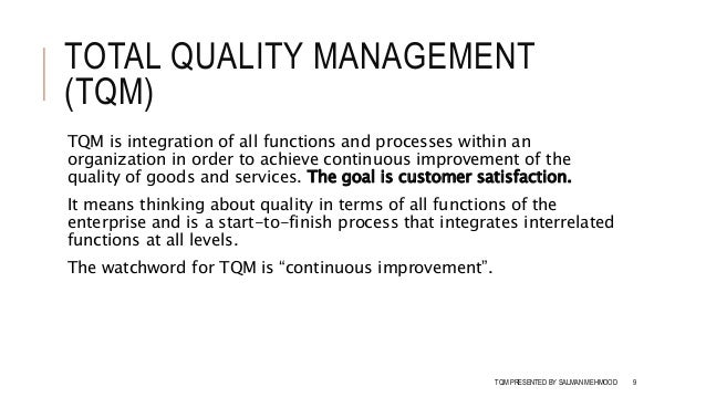 quality management assignment 3 Tqm defined: the definition of total quality management was defined by sematech in 1990 [tags: total quality management tqm] 817 words (23 pages) good essays.