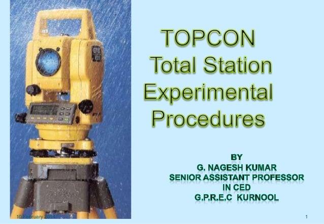 Total station topcon exp procedures