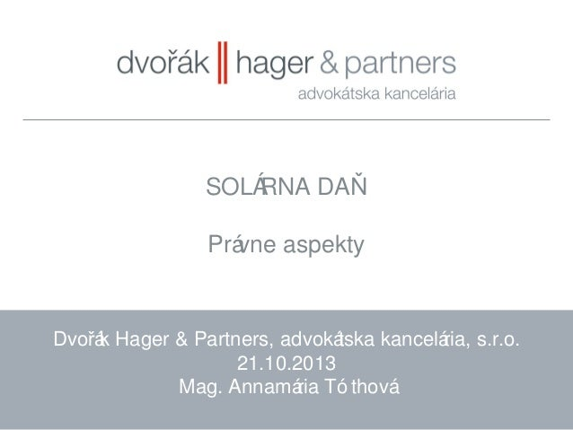 Solárna daň | Annamária Tóthová, DHP