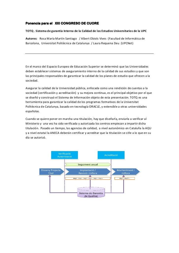 Sistema de Garantía Interna de la Calidad de la UPC