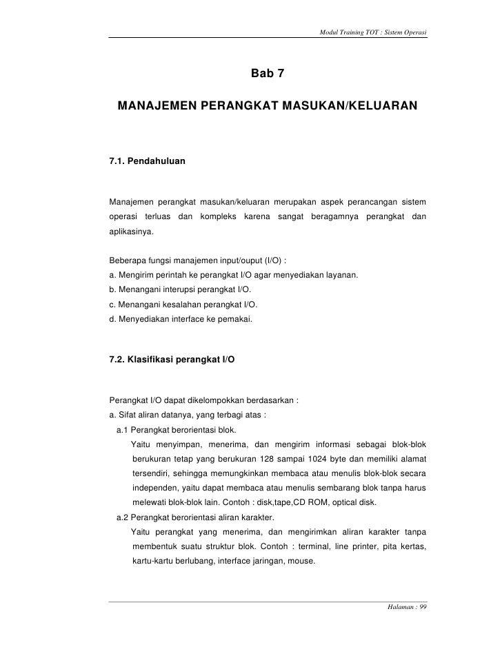 Modul Training TOT : Sistem Operasi                                            Bab 7    MANAJEMEN PERANGKAT MASUKAN/KELUAR...