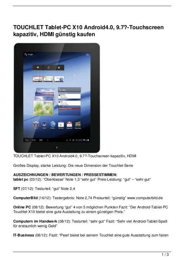 TOUCHLET Tablet-PC X10 Android4.0, 9.7?-Touchscreenkapazitiv, HDMI günstig kaufenTOUCHLET Tablet-PC X10 Android4.0, 9.7?-T...
