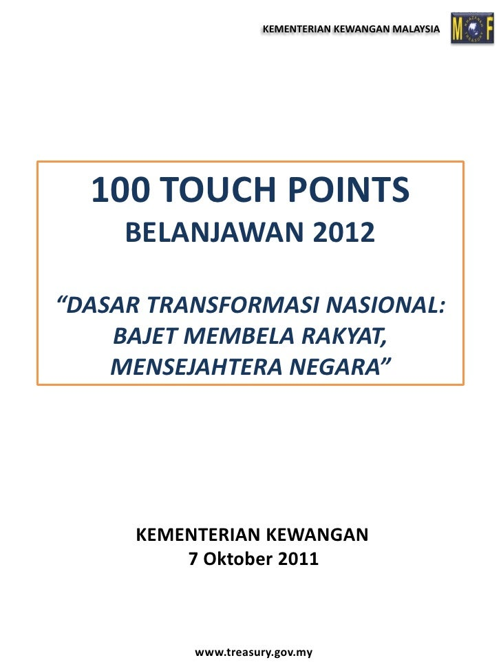Touch point belanjawan 2012 7 okt