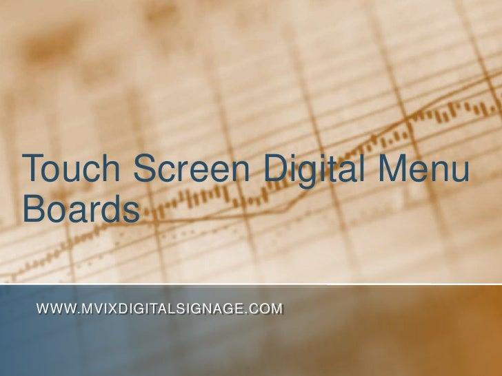 Touch Screen Digital Menu Boards