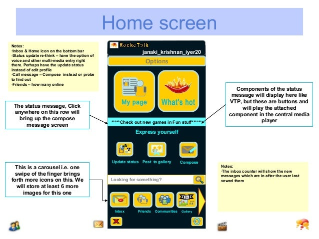 Home screenNotes:-Inbox & Home icon on the bottom bar                          janaki_krishnan_iyer20-Status update re-thi...