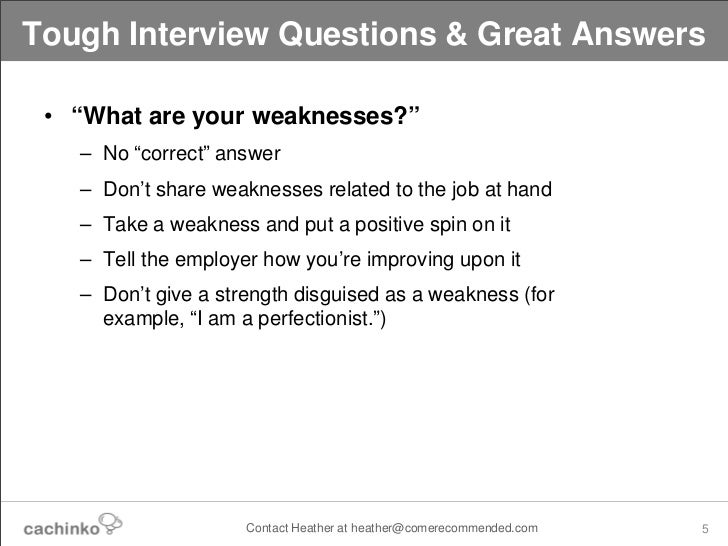 weaknesses job interview list