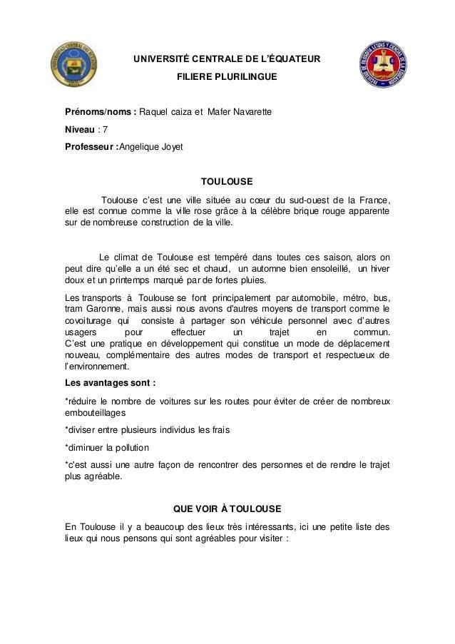 UNIVERSITÉ CENTRALE DE L'ÉQUATEUR FILIERE PLURILINGUE Prénoms/noms : Raquel caiza et Mafer Navarette Niveau : 7 Professeur...