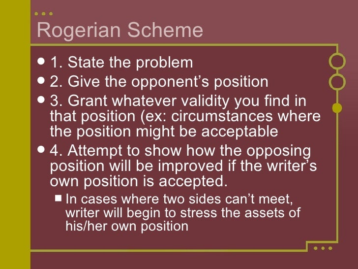 rogerian vs toulmin Rogerian argument is especially dependent on audience analysis because the writer must present the reader's perspective clearly, accurately, and fairly if you want to read more about rogerian argument, kate kiefer has additional explanations and sample texts available in 338 eddy.