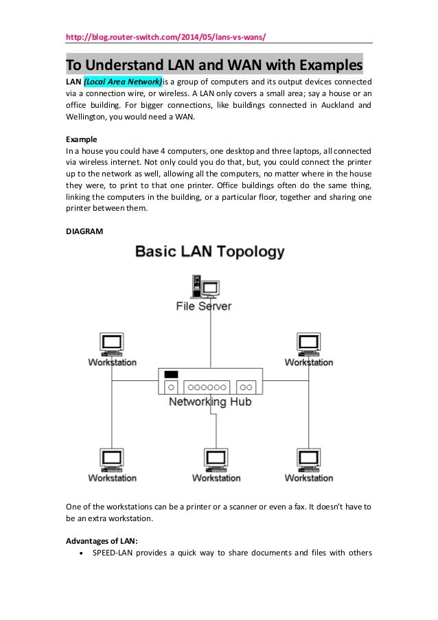 http://blog.router-switch.com/2014/05/lans-vs-wans/ To Understand LAN and WAN with Examples LAN (Local Area Network)is a g...