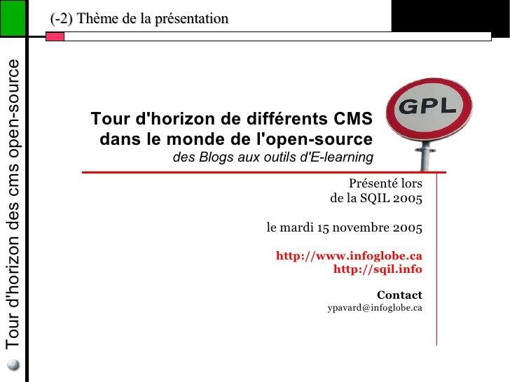 Tour d'horizon des cms open-source   (-2) Thème de la présentation                                                Tour d'h...