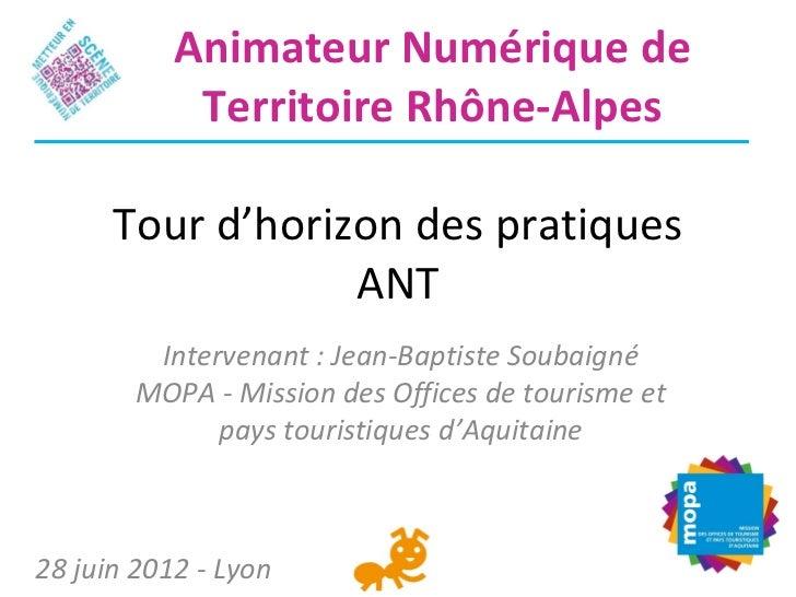 Animateur Numérique de            Territoire Rhône-Alpes      Tour d'horizon des pratiques                  ANT         In...