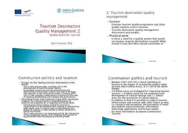Tourism Destination Quality Management - Part 2
