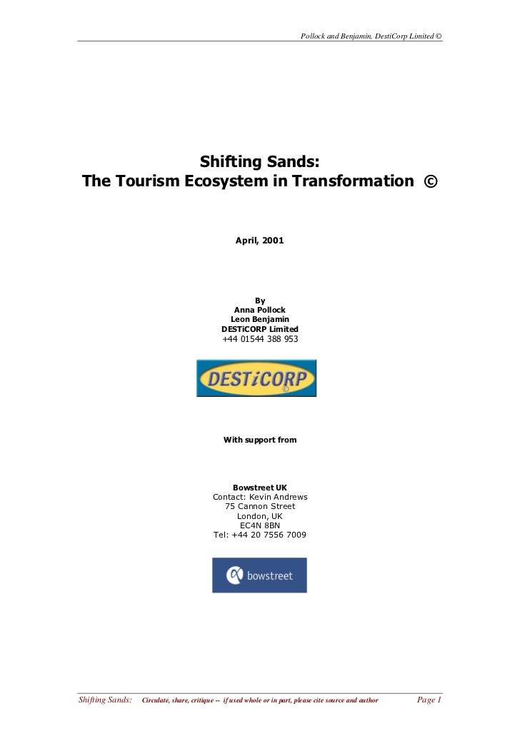 Pollock and Benjamin, DestiCorp Limited ©              Shifting Sands:The Tourism Ecosystem in Transformation ©           ...
