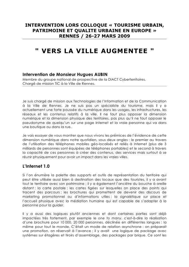 INTERVENTION LORS COLLOQUE « TOURISME URBAIN,    PATRIMOINE ET QUALITE URBAINE EN EUROPE »             RENNES / 26-27 MARS...