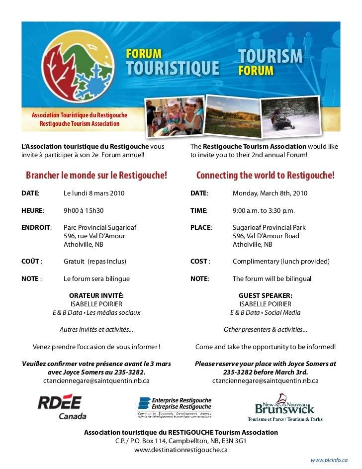 FORUM                        TOURISM                                          TOURISTIQUE                  FORUM      Asso...