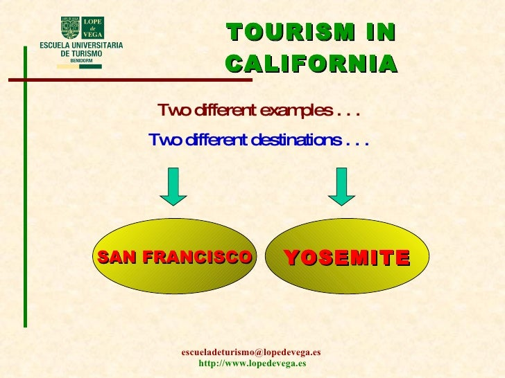 TOURISM IN CALIFORNIA Two different examples . . . Two different destinations . . . SAN FRANCISCO YOSEMITE