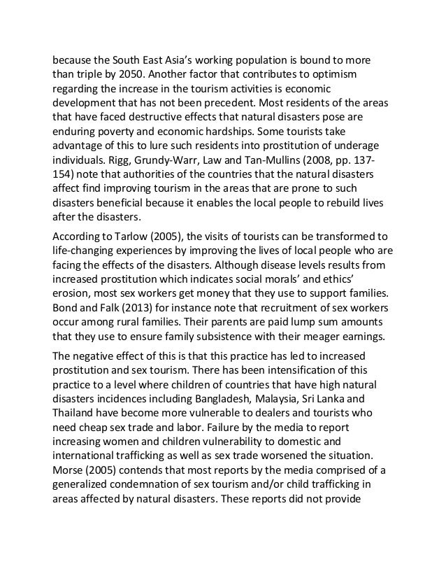Tourism in natural disaster affected regions sample essay 4.