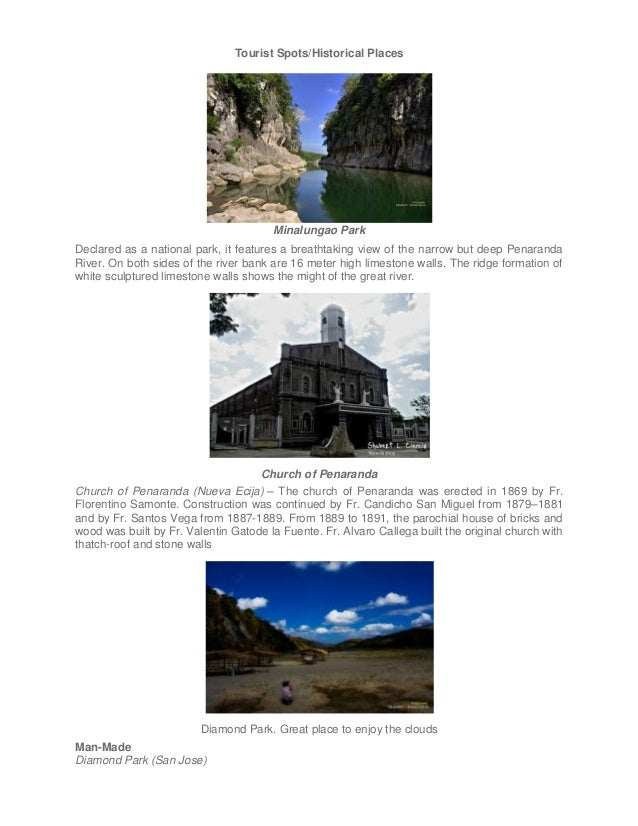 Tourist Spots/Historical Places  Minalungao Park Declared as a national park, it features a breathtaking view of the narro...