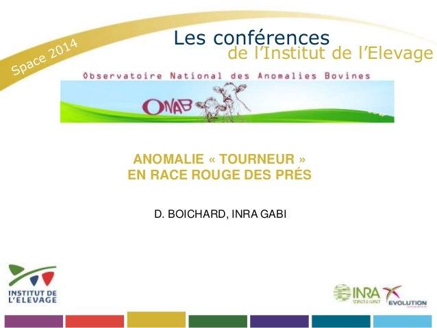 Les conférences  de l'Institut de l'Elevage  ANOMALIE « TOURNEUR »  EN RACE ROUGE DES PRÉS  D. BOICHARD, INRA GABI