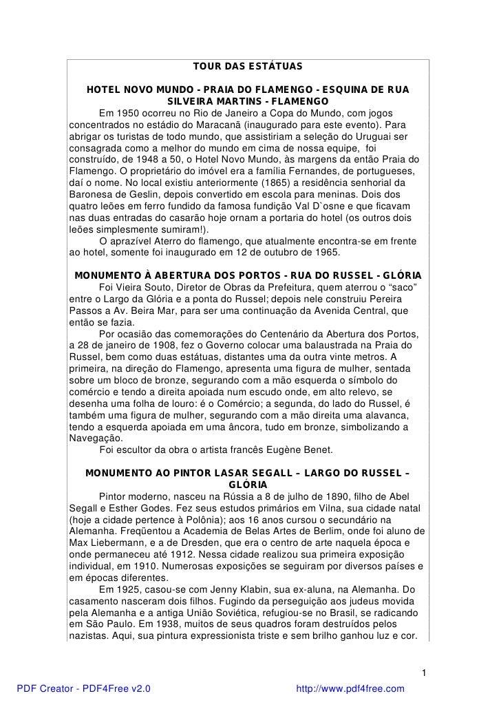 TOUR DAS ESTÁTUAS              HOTEL NOVO MUNDO - PRAIA DO FLAMENGO - ESQUINA DE RUA                                 SILVE...