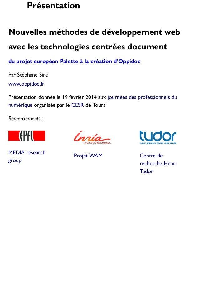 Présentation Nouvelles méthodes de développement web avec les technologies centrées document du projet européen Palette à ...