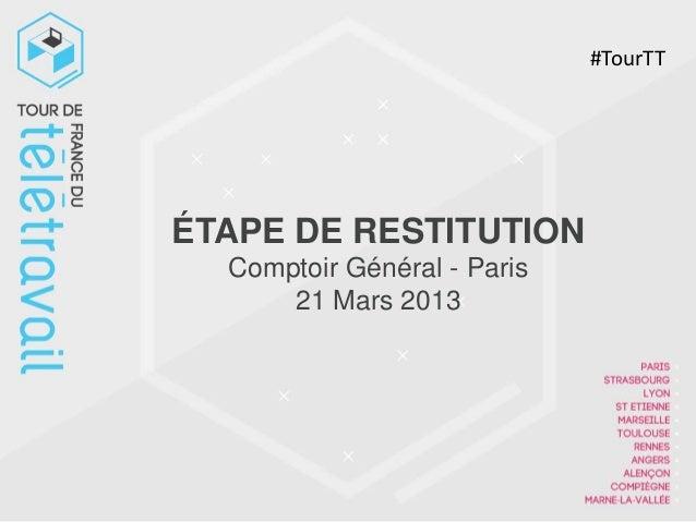 #TourTTÉTAPE DE RESTITUTION  Comptoir Général - Paris      21 Mars 2013