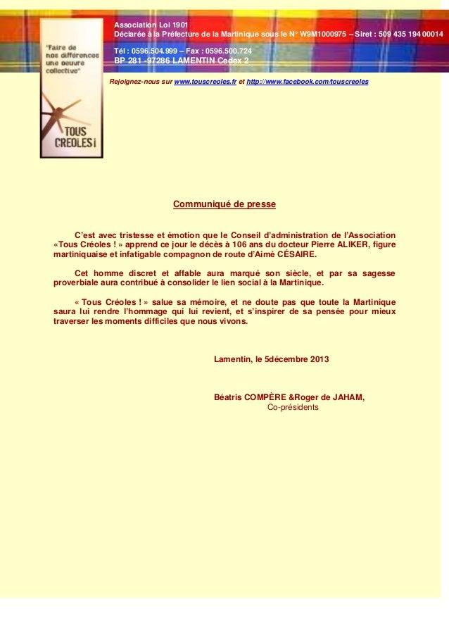 Association Loi 1901 Déclarée à la Préfecture de la Martinique sous le N° W9M1000975 – Siret : 509 435 194 00014 Tél : 059...