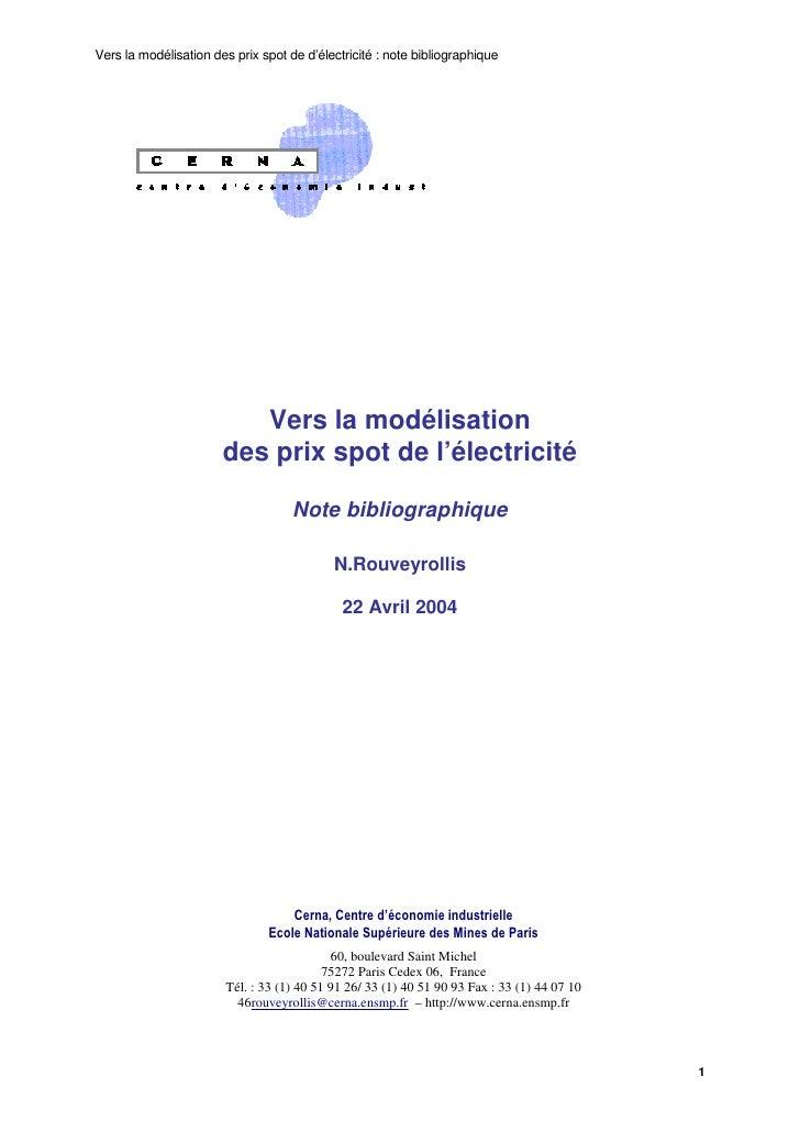 Vers la modélisation des prix spot de d'électricité : note bibliographique                               Vers la modélisat...