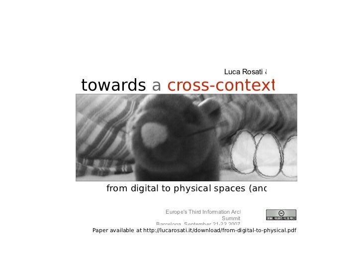 Towards A Cross-context IA