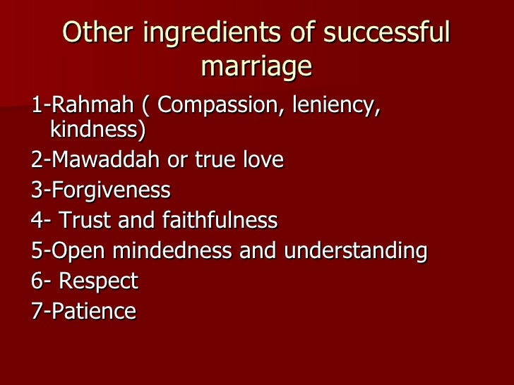Recipe for a Happy Marriage – Ingredients for a Good Marriage