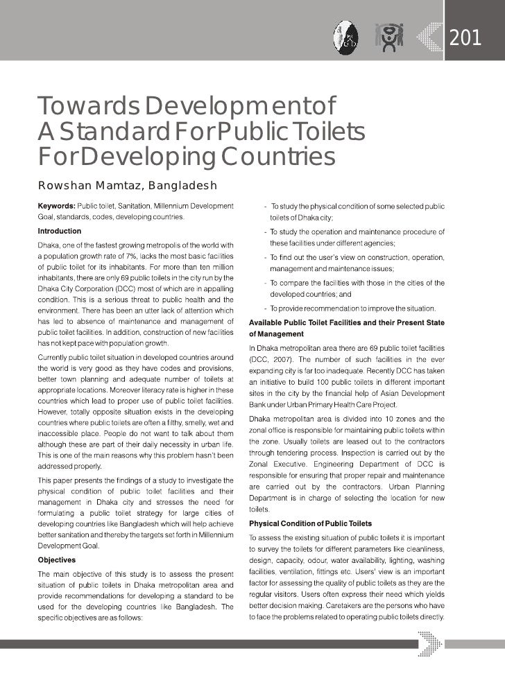 Towards  Development  Of A  Standard  For  Public  Toilets  For  Developing  Countries