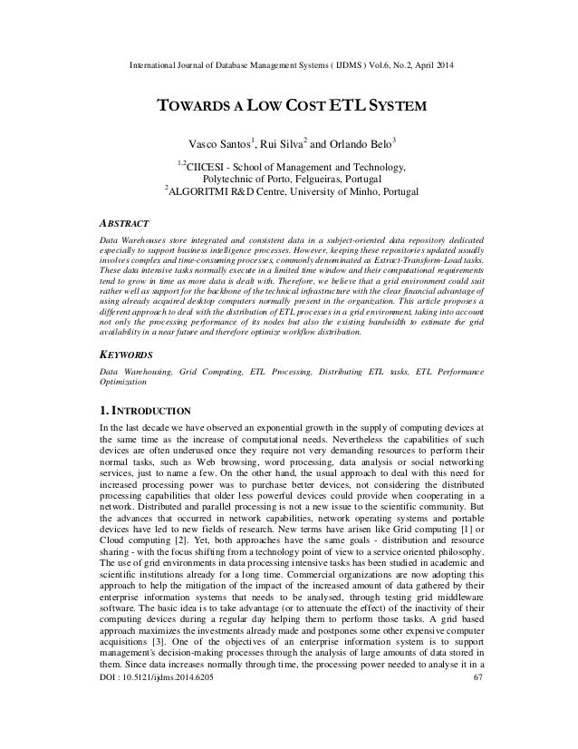 Towards a low cost etl system
