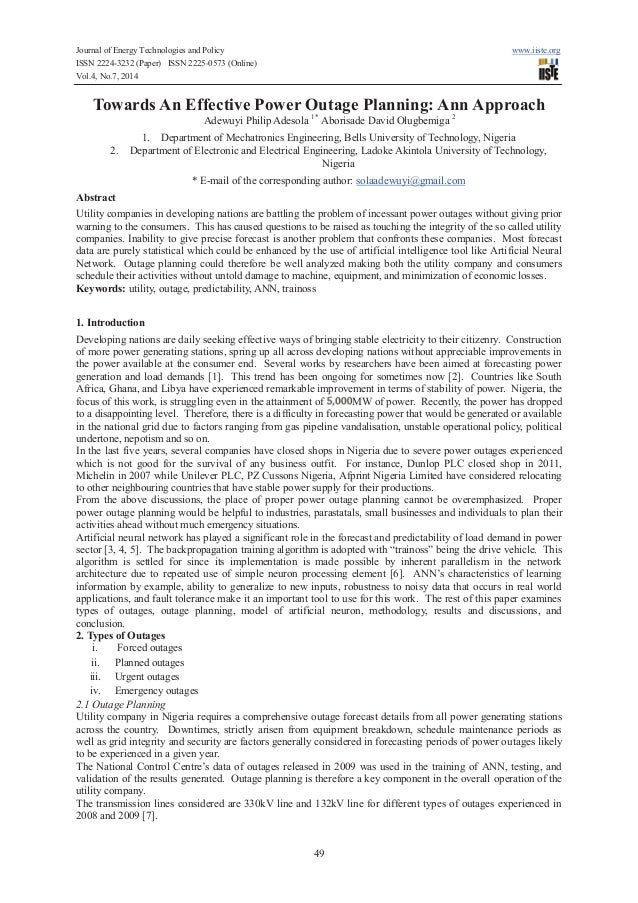 Journal of Energy Technologies and Policy www.iiste.org ISSN 2224-3232 (Paper) ISSN 2225-0573 (Online) Vol.4, No.7, 2014 4...