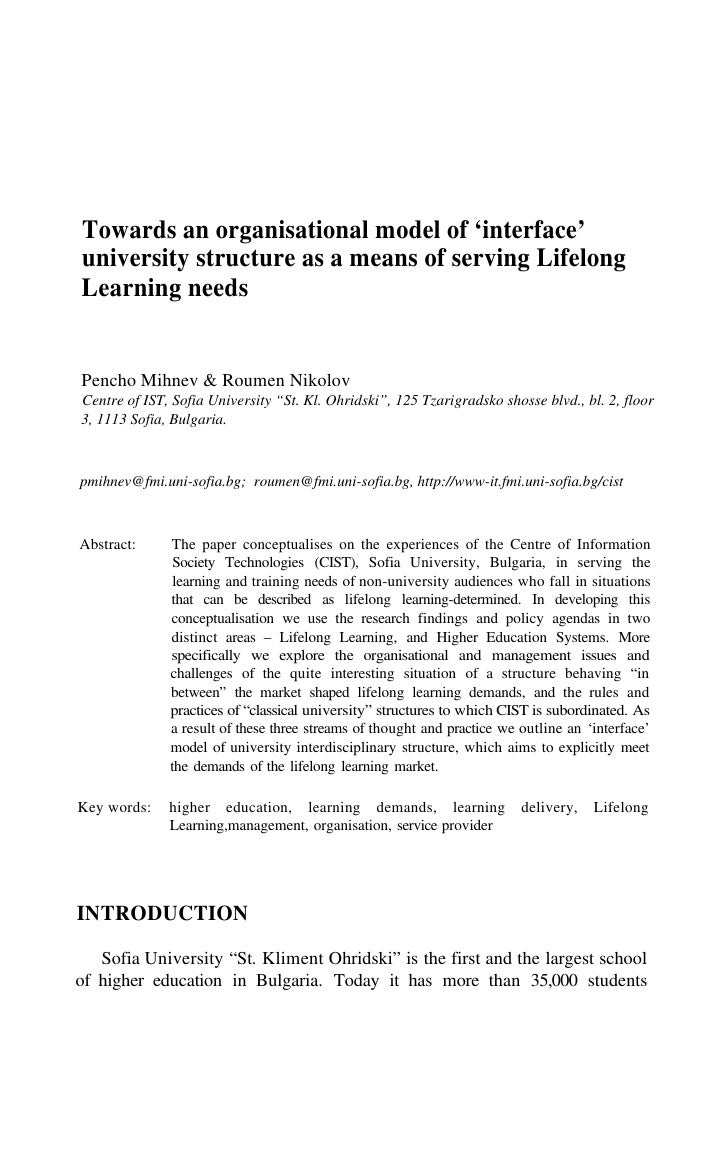 Towards an organisational model of 'interface' university structure as a means of serving Lifelong Learning needs   Pencho...