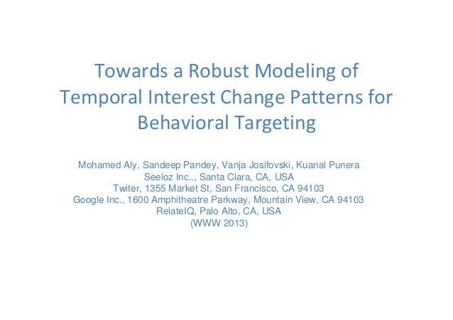 Towards a Robust Modeling of Temporal Interest Change Patterns for Behavioral Targeting Mohamed Aly, Sandeep Pandey, Vanja...