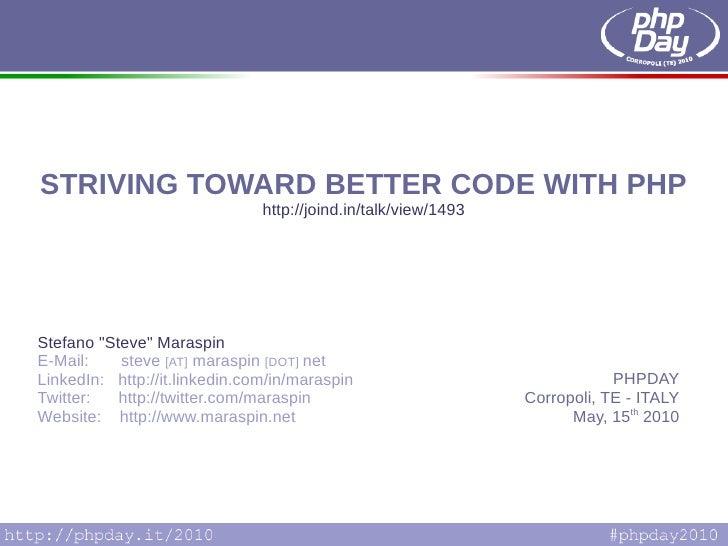 Striving towards better PHP code