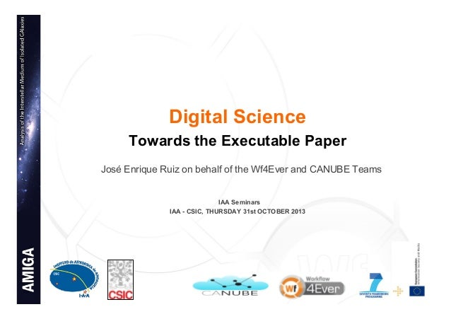 Digital Science: Towards the executable paper