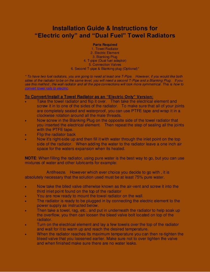 """Installation Guide & Instructions for      """"Electric only"""" and """"Dual Fuel"""" Towel Radiators                                ..."""