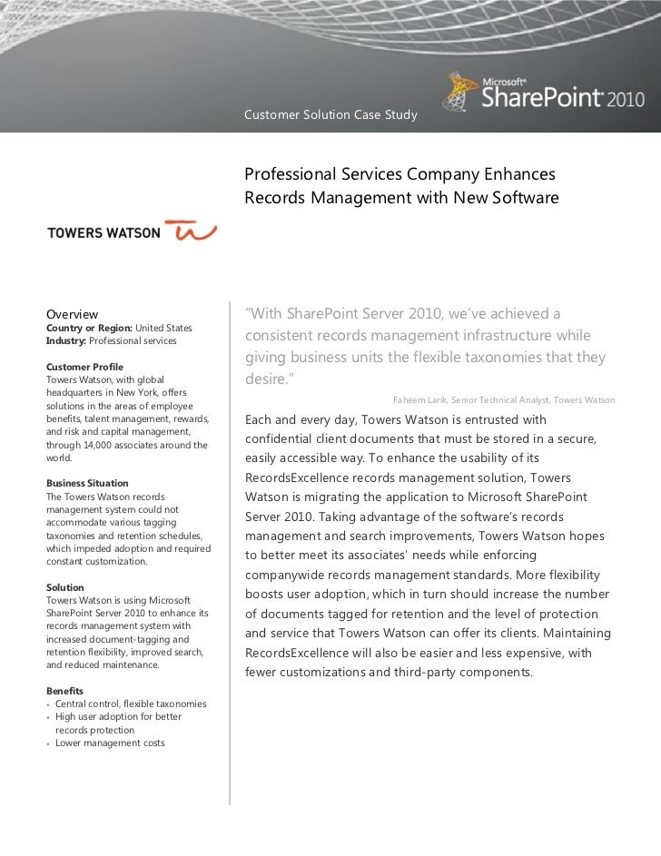 Towers Watson Enhances Records Management with New Software
