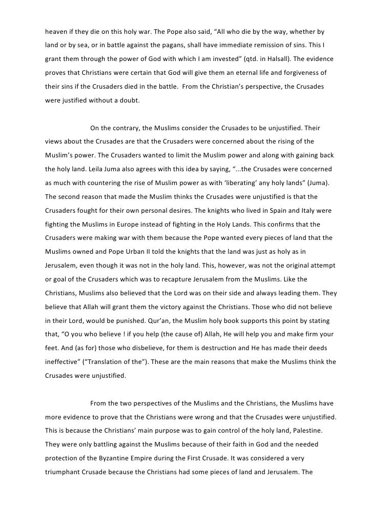 thesis statements about the crusades The crusades are important because they brought europe out of the dark ages and for the first time in years the kingdoms worked together it brought e urope into and through the high middle ages  create a free website.