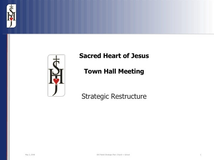 Sacred Heart of Jesus Town Hall Meeting Strategic Restructure Jun 2, 2009 SHJ Parish Strategic Plan: Church + School