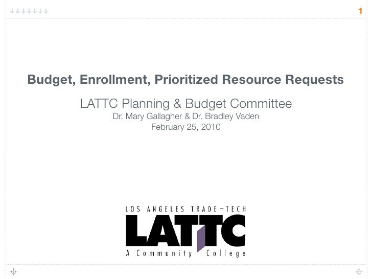 1     Budget, Enrollment, Prioritized Resource Requests         LATTC Planning & Budget Committee              Dr. Mary Ga...