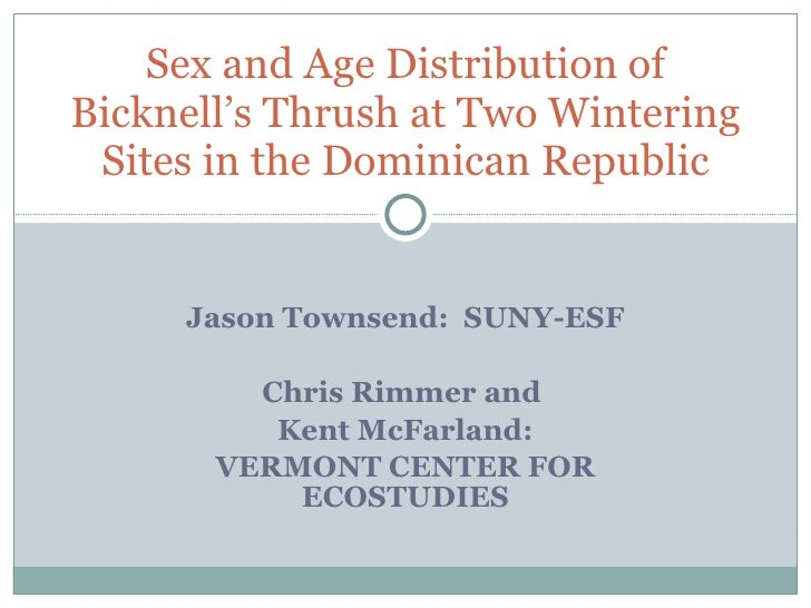 Sex and age distribution of Bicknell's Thrush in the Dominican Republic