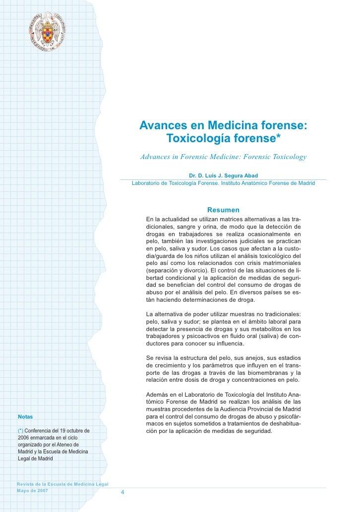 Avances en Medicina forense:                                                     Toxicología forense*                     ...