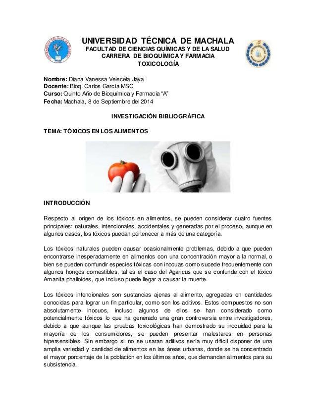 UNIVERSIDAD TÉCNICA DE MACHALA  FACULTAD DE CIENCIAS QUÍMICAS Y DE LA SALUD  CARRERA DE BIOQUÍMICA Y FARMACIA  TOXICOLOGÍA...