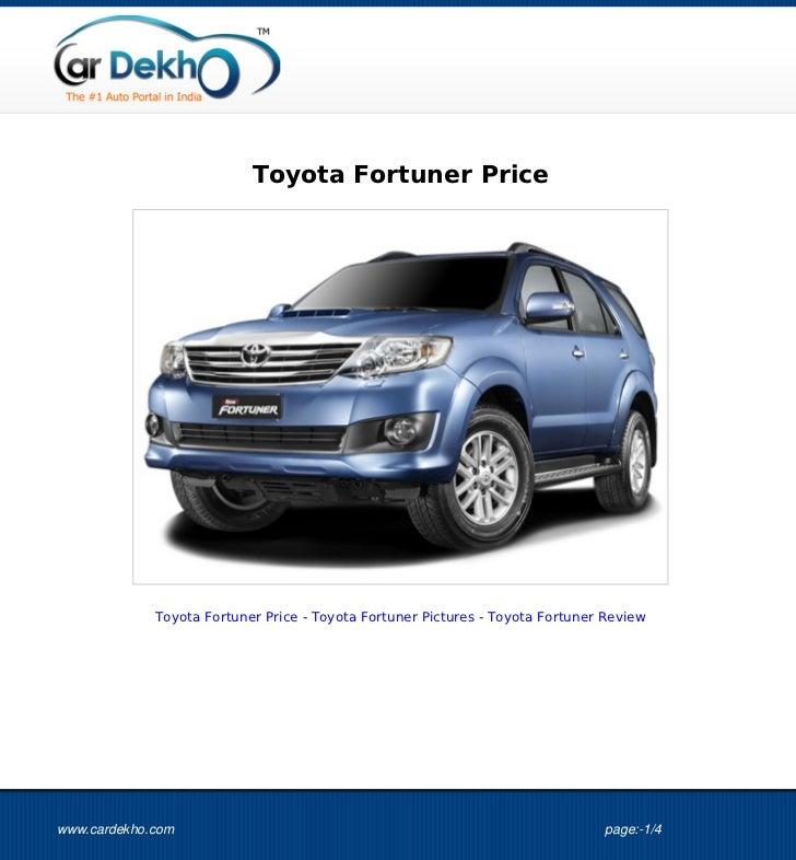 Toyota Fortuner Price 01Oct2012