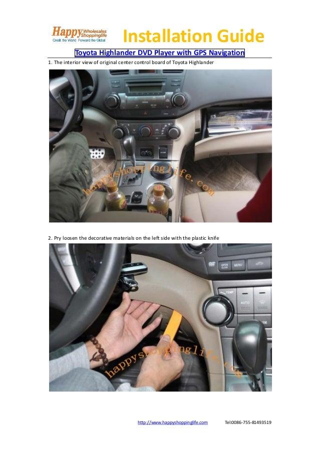 Toyota highlander dvd player gps navigation installation guide