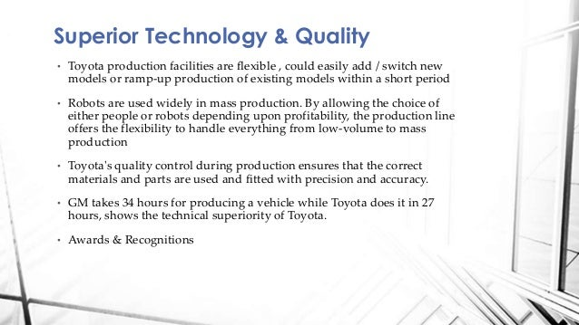 toyota case study analysis This report sets to review current management issues at toyota this study is significant not just because it is a in swot analysis.